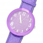 Fashion Leather Band Stainless Steel Water Resistant-Armbanduhr - Purple (1 x 377)