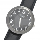 Fashion Leather Band Stainless Steel Water Resistant Quartz Wrist Watch - Black (1 x 377)
