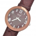 Fashion Leather Band Stainless Steel Water Resistant Quartz Wrist Watch - Brown (1 x 377)