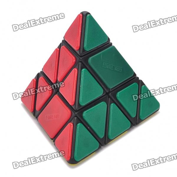 New Structure Bandaged Pyraminx Magic Cube Puzzle Toy with Black Edge - 10cm