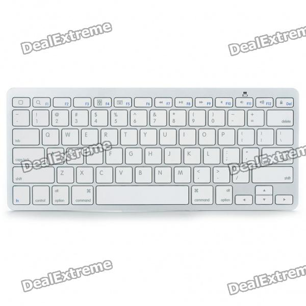 Ultra Slim 78-Key Bluetooth V2.0 QWERTY Keyboard (2 x AAA) - DXKeyboards<br>Color: White + Silver - ABS case material - Bluetooth version: V2.0 - 78-key QWERTY keyboard - Operation range: 10m - Powered by 2 x AAA batteries (not included) - Supports Windows/Mac/Linux system - Suitable for Iphone/Ipad 2/Iphone - Comes with English manual<br>
