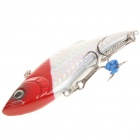 Lifelike Fish Style Fishing Bait with Treble Hooks - Red + Silver