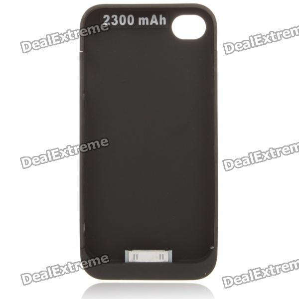 2300mAh Rechargeable External Battery Back Case for iPhone 4 - Black