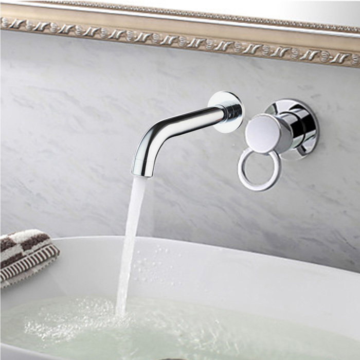 Single Control Wall-mount Chrome Faucet tall faucet retro style bathroom sink basin faucets hot and cold water taps antique brass single ceramics handle mixer tap