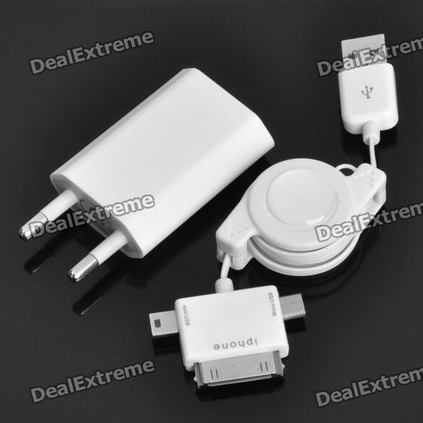 Retractable 3-in-1 USB Charging Cable + Charging Adapter Charger for iPhone 4/i9100/S5830/HTC G14
