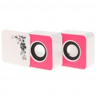 Stylish Rotatable Folding Rechargeable MP3 Player Speakers w/ USB/SD Slot - White + Pink