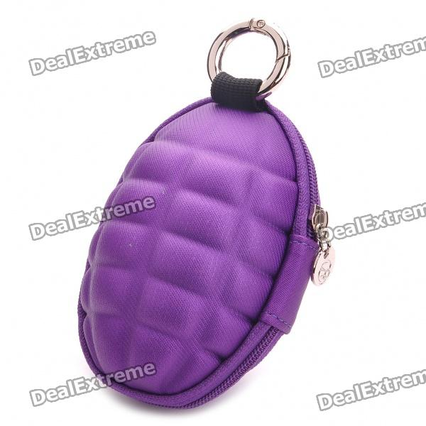 Novelty Creative Grenade Shaped Zippered Key Case Coin Pouch Bag Purse - Random Color