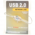 USB 2.0 PC to PC Data Link Cable - Transparent White (150cm)
