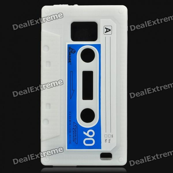 Magnetic Tape Style Protective Silicone Back Case for Samsung i9100 - White