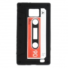 Magnetic Tape Style Protective Silicone Back Case for Samsung i9100 - Black