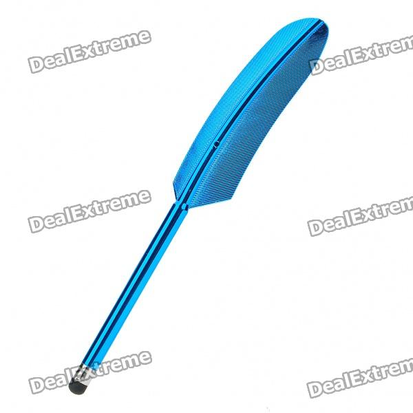 Aluminum Alloy Goose Feather Style Capacitive Touch Screen Stylus Pen - Blue