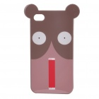 Protective Cartoon Dog Pattern zurück Fall mit Screen Protector für iPhone 4 - Brown + Light Pink