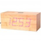 Modern AC Powered Wooden Red LED Alarm Clock w/ FM/Temperature Display - Yellow