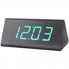 Modern AC/3 x AA Batteries Powered Triangle Wooden Green LED Alarm Clock w/ Temperature - Black