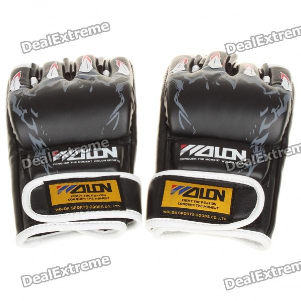 Professional Training Boxing Glove - Black + White (Pair) pu leather usa boxing gloves with american flag pair