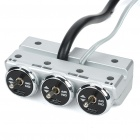Triple Sockets Car Cigarette Lighter Power Adapter with 3 Switches - Silver