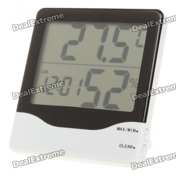 "4.0"" LCD Indoor Digital Thermometer/Humidity Meter w/ Clock (1 x AAA)"