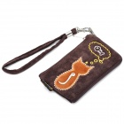 Fashionable Animob Pattern Mobile Phone Carrying Bag/Pouch with Strap - Brown