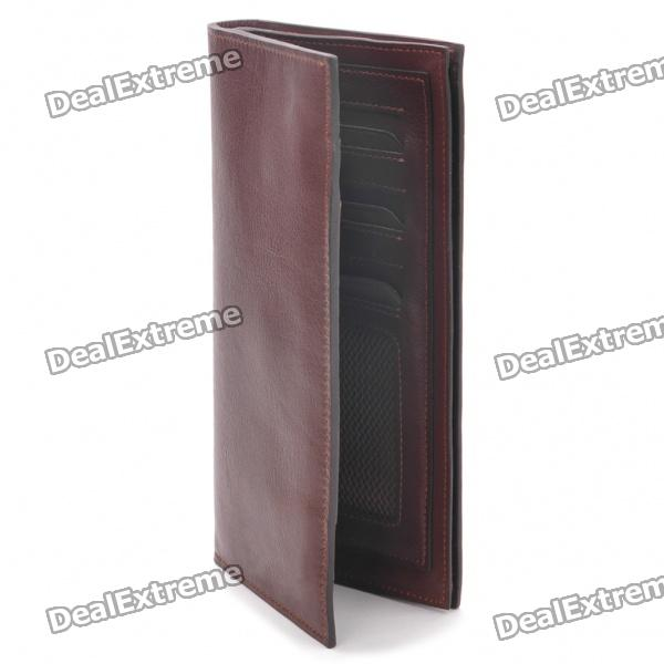 Stilvolle Folding Multi-Compartment Leder Wallet - Coffee