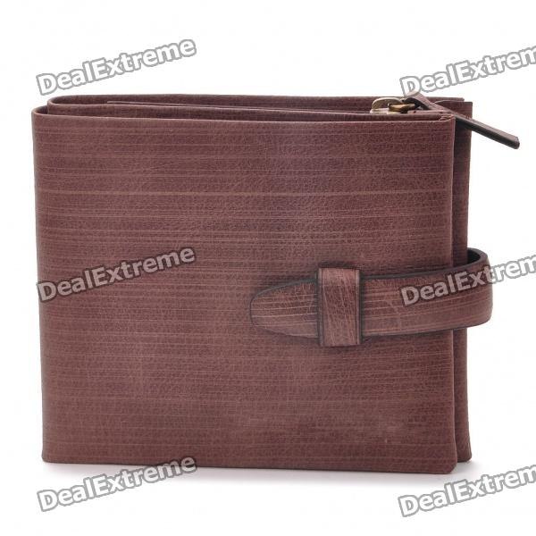 Multi-Compartment Fashion Folding Leather Wallet - Coffee