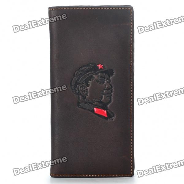 Chairman Mao Pattern Cow Leather 2-Fold Long Wallet - Coffee