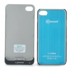 Rechargeable 2000mAh External Battery Back Case w/ Protective Back Case for iPhone 4/4S - Blue