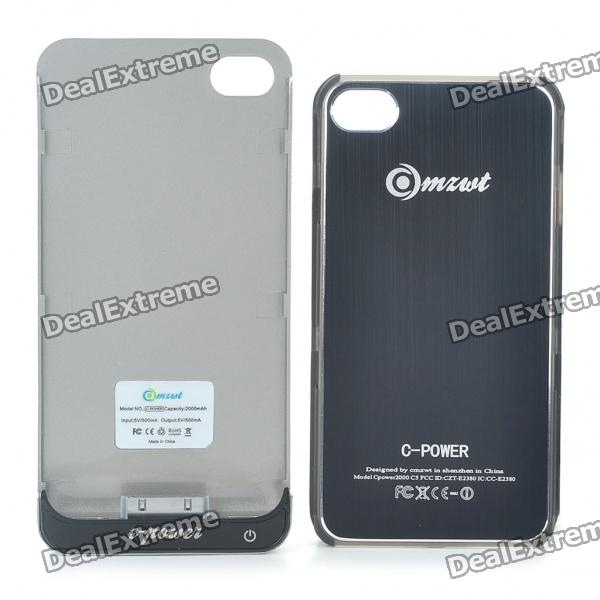 Rechargeable 2000mAh External Battery Back Case w/ Protective Back Case for iPhone 4/4S - Black