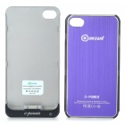 Rechargeable 2000mAh External Battery Back Case w/ Protective Back Case for iPhone 4/4S - Purple