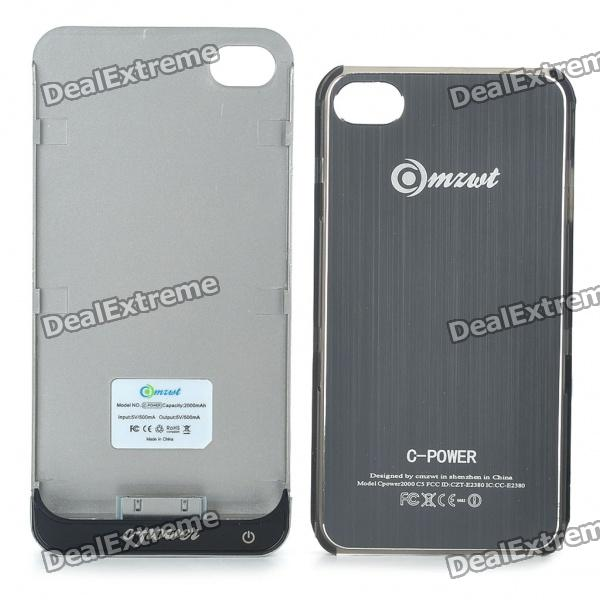 Rechargeable 2000mAh External Battery Back Case w/ Protective Back Case for iPhone 4/4S - Grey