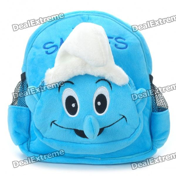 Cute Smurf Style Plush Doll Toy Dual-Shoulder Bag for Kids