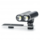 Double-Head Rechargeable Hot Shoe White LED Light Lamp for DSLR - Black + Silver