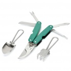 Multi-Function Folding 5-in-1 Pruning Shears Gardening Scissors + Shovel + Spike-Tooth Harrow Set