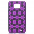 Protective PC Cover PU Back Case for Samsung Galaxy S2/i9100 - Black + Purple