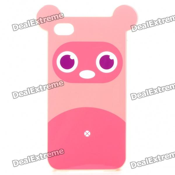 Cute Cartoon Bear Pattern Protective TPU Back Case w/ Screen Protector for iPhone 4 - Pink