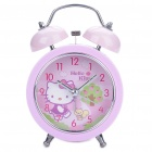 Cute Hello Kitty Pattern Twin Bell Alarm Clock w/ 1 Yellow LED Illumination (1 x AA/Random Color)