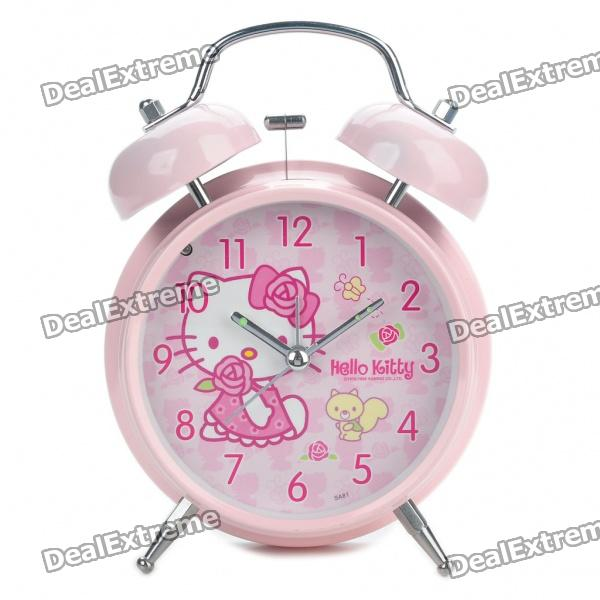 Nettes Hallo Kitty Pattern Twin Bell Alarm Clock w / 1 Gelbe LED-Beleuchtung (1 x AA / Random Color)