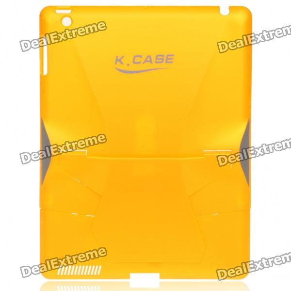 Creative Protective PVC Kickstand Transformer Back Case for iPad 2 - Yellow