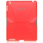 Creative Protective PVC Kickstand Transformer Back Case for Ipad 2 - Red