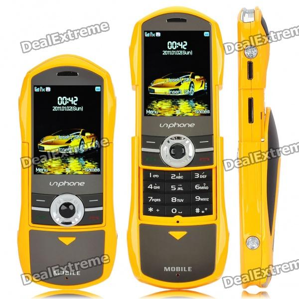 "F799 Car Style 2.0"" Dual SIM Dual Network Standby Quadband Slide Phone w/ FM - Yellow"
