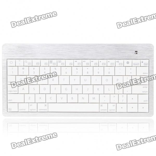 USB recargable Ultra Slim 80-Key Teclado Bluetooth - Blanco + Plata