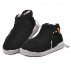 USB Heating Soft Warm Boots Shoes - Black + Grey (Pair)