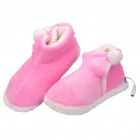 USB Heating Soft Warm Boots Shoes - Pink + White (Pair)