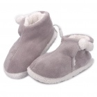 USB Heating Soft Warm Boots Shoes - Grey + White (Pair)