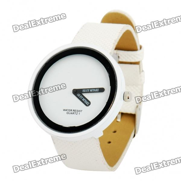 Simple Leather Band Crystal Wrist Watch - USD $ 3.99