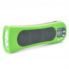 2-in-1 Rechargeable White 3-LED Flashlight + 2x3W MP3 Music Speaker Player with FM/TF Slot - Green