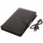 Bluetooth Keyboard with Folding Leather Case for Samsung P1000 - Black