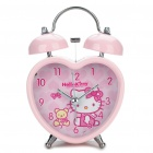 Heart Shaped Hello Kitty Pattern Twin Bell Alarm Clock w/ Yellow 1-LED Light (1xAA/Random Pattern)