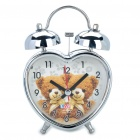 Love Heart Shaped Bears Pattern Twin Bell Alarm Clock w/ Yellow 1-LED Light (1xAA/Random Pattern)