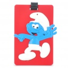 Cute Silicone The Smurfs Figure Secure Travel Suitcase ID Luggage Tag - Red