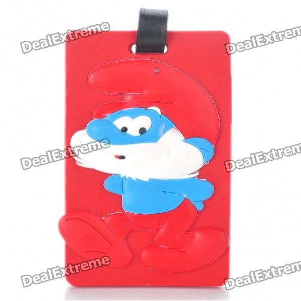 Cute Silicone Papa Smurf Figure Secure Travel Suitcase ID Luggage Tag - Red